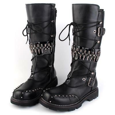 Men Punk Metal Rivet Round Toe Buckle Pull On Combat Motorcycle Cowboy Boots