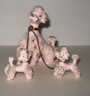 Pink Spaghetti Porcelain Poodle Figurines Mom Dog & Two Puppies On Chain Leash