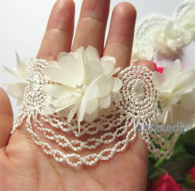 10X Vintage Flower Pearl Lace Edge Trim Wedding Ribbon Applique DIY Sewing Craft