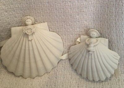 Set Of 2 Margaret Furlong Angel Shell Ornaments ~ Grace 1998, Xmas Tree 1990