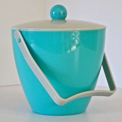 Plastic Ice Bucket in Teal Blue & Grey with Removable Strainer, Japan c.1960s