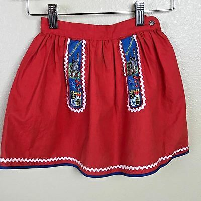 Vintage German Skirt Baby Girl Red Cotton Embroidered Castle Shield 18 In Waist