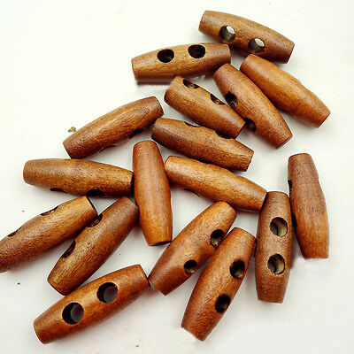 50pcs Wooden Toggles Buttons 2 Holes Olive Shape Coffe Sewing Crafts DIY 30*10mm
