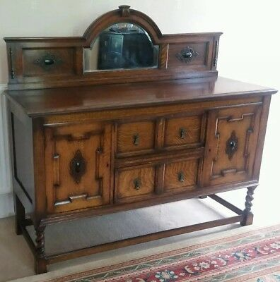 Exquisite 5Ft Antique Carved Oak Bevelled Mirror Sideboard Dresser.free Delivery