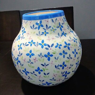 Antique Early 1900's  Ceramic -porcelain Vase Hand Painted White Blue Floral