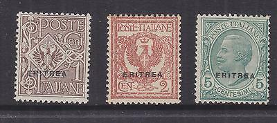 ERITREA, 1924 on Italy, small overprint set of 3 1c., 2c. & 5c., lhm.