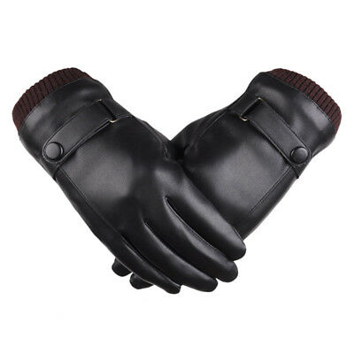 Leather Gloves Full Finger Mens Motorcycle Driving Winter Warm Touch Screen YR