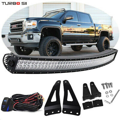 """50"""" Curved LED Light Bar+Upper Roof Bracket For Chevy Silverado 1500 2500 3500"""