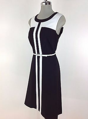 ROZ & ALI Brand New Elegant Dress Black and White color block With White Belt