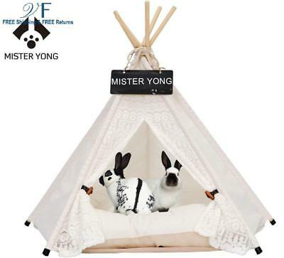 Yongs Pet Cat Dog Rabbit Teepee with Cushion,Portable Puppy Small Animals Bed Te