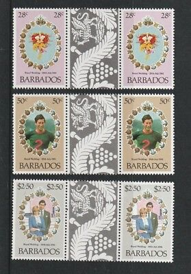 BARBADOS 1981 ROYAL WEDDING SET OF ALL 3 COMMEMORATIVE STAMPS TAB GUTTERS MNH c