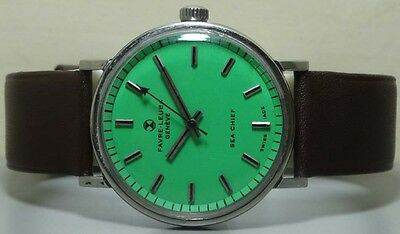 VINTAGE Favre Leuba Seachief GENEVE WINDING MENS WATCH USED r977 Old Antique