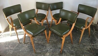 Set of 6 vintage Ben dining chairs inc. 2 carvers, mid century modern, green