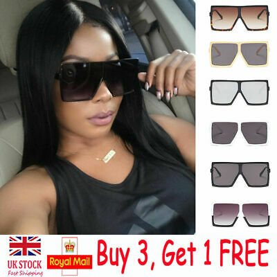 Womens Flat Top Square Sunglasses Ladies Retro Shades 80s Vintage Sun Glasses