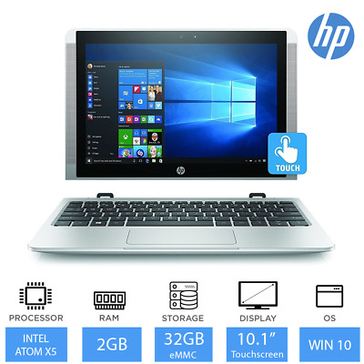 "HP x2 10-p000na-10.1"" 2 in 1 Light Weight Laptop Tablet Intel Atom 32GB, Win 10"