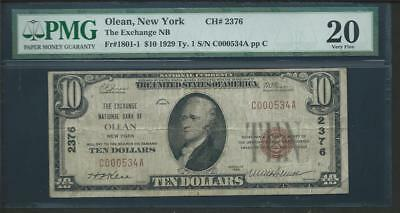 "1929 Olean Ny $10.00 ""the Exchange National Bank"" Pmg 20 Please Lqqk!!!*"