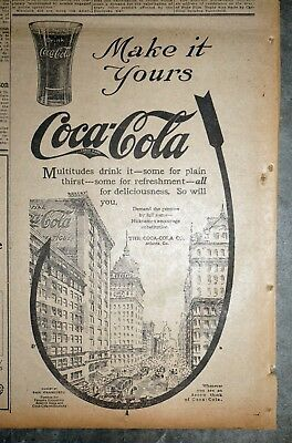 """Coca Cola """"Make It Yours"""" Ad - 1914 San Francisco Newspaper Page"""