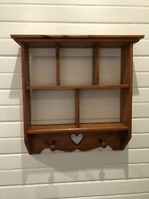 Country Cottage Wooden Hanging Three Tier Shelves With 2 Coat Hooks