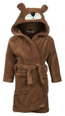 Minoti Boys Teddy Hood Fleece Bathrobe - Age 12/18 Months (Other Ages Available)