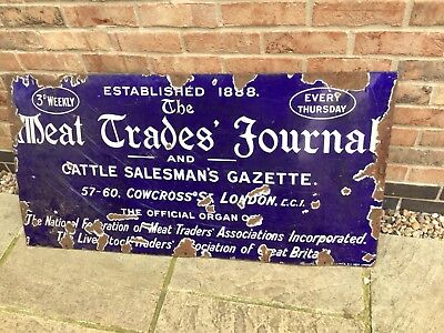 Very Large Metal Advertising Sign The Meat Trade'S Journal And Cattle Salesman G
