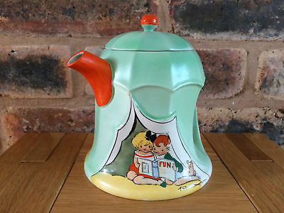 Rare 1928 Shelley Pottery Art Deco Nursery Ware Hilda Cowham Tent Teapot
