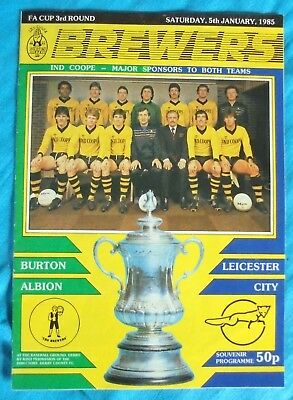 1985 Fa Cup 3Rd Round Programme Burton Albion V Leicester City