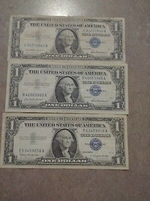 Lot of three 1957 silver certificates