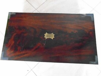 Antique Flame Mahogany Writing Slope Wooden Desk Top Stationery Storage Box