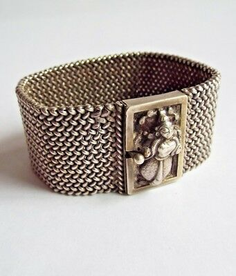 Antique Indian woven silver cuff bracelet deep carved god clasp- 1 of 2-  75.7g
