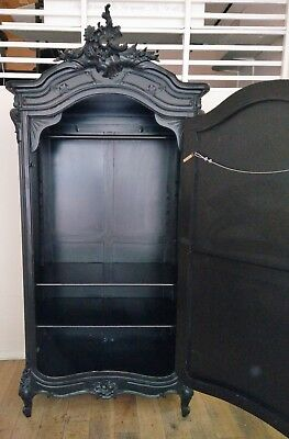French Armoire (Black) - Mirrored Single Door Wardrobe - Used (Good Condition)