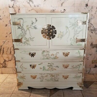 Vintage Oriental Asian Campaign Ivory Lacquer Highboy Bureau Butterfly Dresser