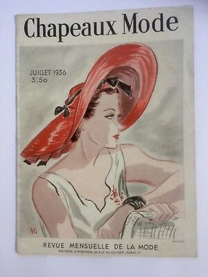 Vintage French hat fashion magazine, Chapeaux Mode, 1936