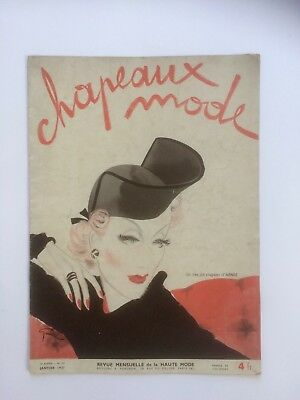Vintage French Hat fashion magazine , Chapeaux Mode, Janvier 1937