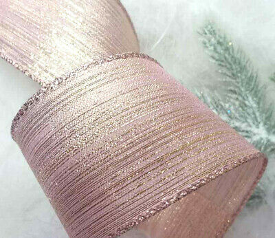 1m 63mm WIRED CHRISTMAS NATURAL RIBBON SPARKLY GOLD GLITTER SWIRLS TREE BOW GIFT
