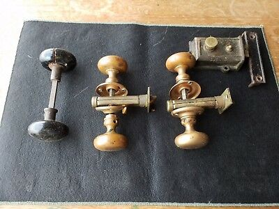 Lot of Vintage Porcelain / Brass Door Knobs
