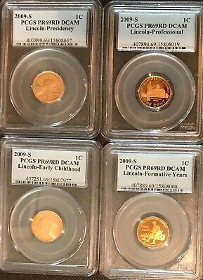 2009 S Lincoln 4 Coin Cent Set PCGS PR69RD DCAM