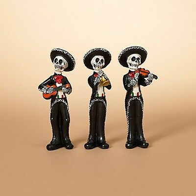 New Set of 3 Day Of The Dead Skeleton Mariachi Band 2430570