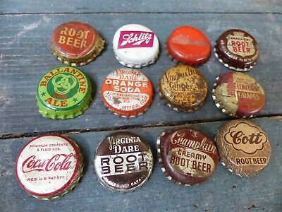 12 vintage soda & Beer caps 1950s cork lined assorited lot