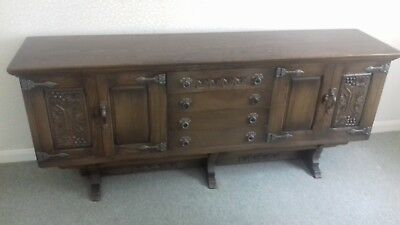 Elegant carved dark brown wooden sideboard, very good condition