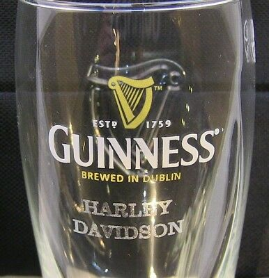 GUINNESS Brewed in Dublin Galaxy Style 20 oz Glass HARLEY DAVIDSON Lazer Etched