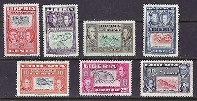 Liberia 333-37 & C68-69 MNH INVERTED CENTERS Map CV $350+++ (4 Unlisted).
