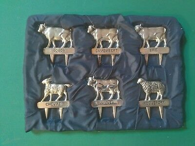 Set of Six Vintage Silver Plated Cheese Markers - French Silea
