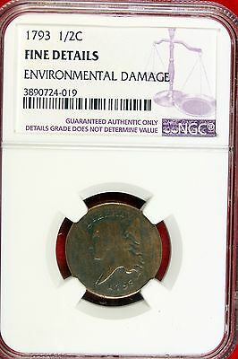 1793 Type Coin Half Cent F Details ( Damage) NGC #B9822