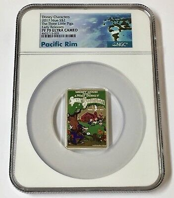 2017 NGC PF 70 Niue Disney Posters of 1930s 3-Little Pigs 1 oz E/R Silver Coin