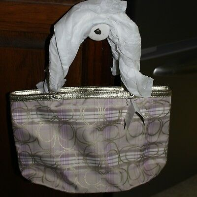 Genuine Coach Logo Handbag New, Ecru & Lilac, Lilac Lining Never Used New W/Tags