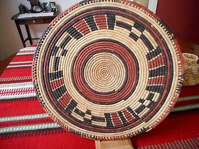 Vintage Round Flat Coil Basket Mat, Water Pot Cover from Mali or Niger 13""