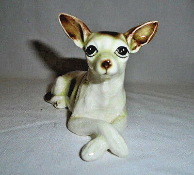 "Vintage Bone China Chihuahua Dog Puppy Figurine 5"" Long Lying Down Excellent"