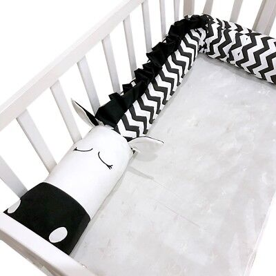 Baby Crib Bumper Cot Bolster Toddler Nursery Pillow Bed Cushion Protector 2m/3m