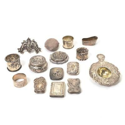 Collection of Silver Personal Articles in the Rococo Taste. 15 Items.