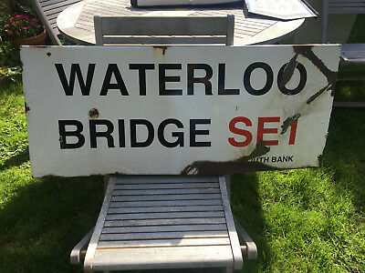 Original London Street Road Enamel Sign Waterloo Bridge Se1